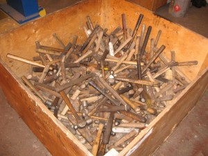 "This big, 4-foot box of well-used hammers is evidence that some work got done.  *Yes, the expression is ""bag of hammers."" Still, hundreds of hammers are as useless as one when there is nothing to strike and  no one to do the work. Photo courtesy of Ev Larsen."